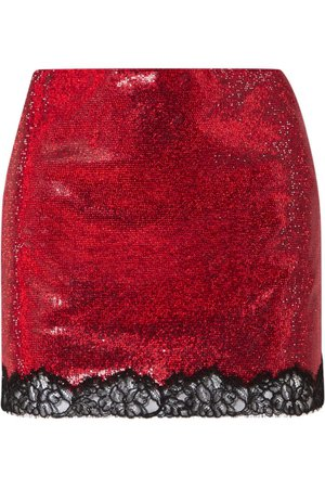PHILOSOPHY DI LORENZO SERAFINI Lace-trimmed crystal-embellished georgette mini skirt