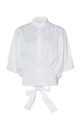 By Any Other Name Cummerbund-Detailed Cotton-Blend Poplin Shirt Size: