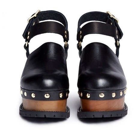 Sacai Wooden wedge stud leather clogs