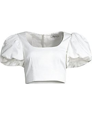 puff sleeve top white - Google Search