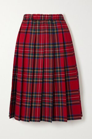 Pleated Checked Wool-twill Skirt - Red