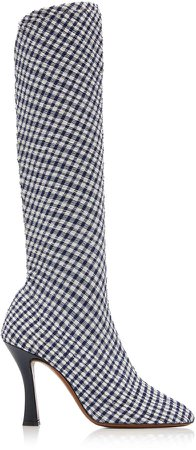 Tuberola Checked Seersucker Ankle Boots Size: 36.5