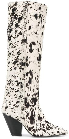 Cow Print Pointed Boots