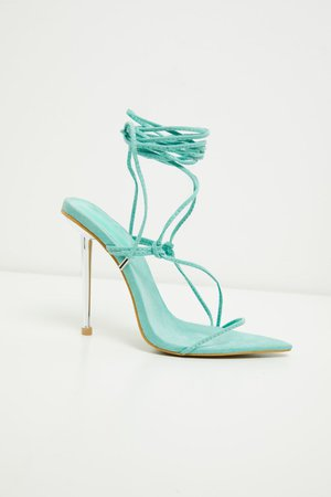 Mint Metal Heel Lace Up Faux Suede Stiletto Heel | PrettyLittleThing USA
