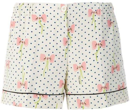 bow print shorts