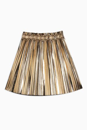 Gold Metallic Pleated PU Mini Skirt | Topshop