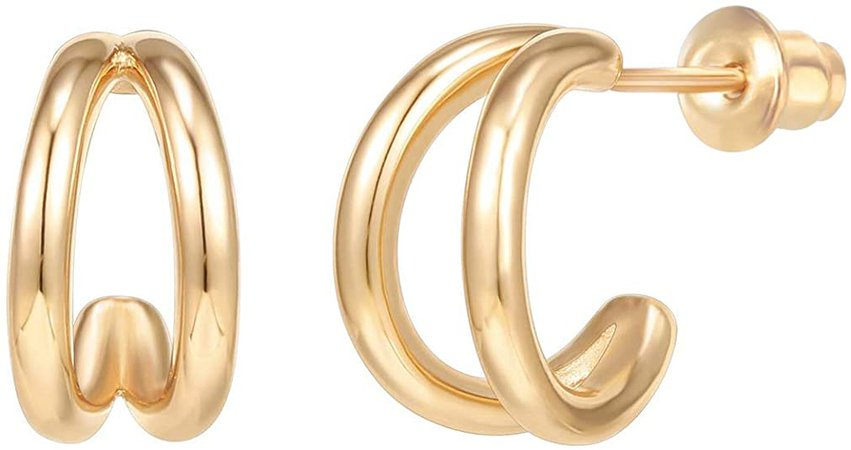 Amazon.com: PAVOI 14K Gold Plated Sterling Silver Split Hoop Huggie Earrings in Yellow Gold: Clothing