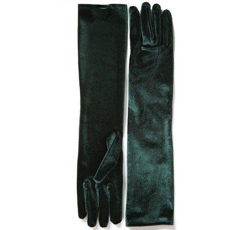 Green Velvet Gloves 1