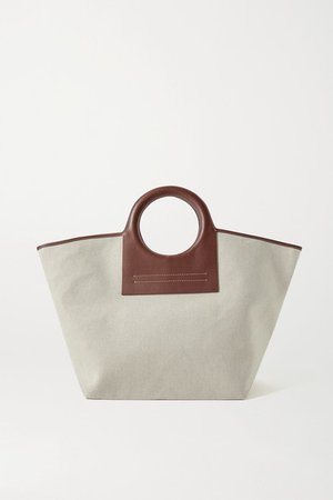 Cala Large Leather-trimmed Canvas Tote - Brown