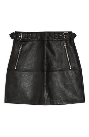 Topshop Seamed Faux Leather Miniskirt | Nordstrom