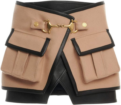 Balmain Pocket-Detailed Gabardine Skirt