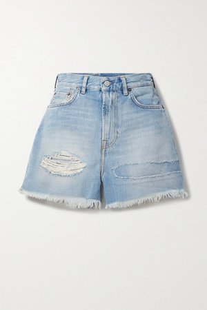 Distressed Denim Shorts - Light blue