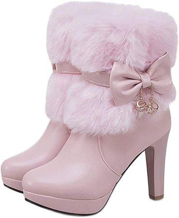 Amazon.com | QZUnique Women Platform Chunky High Heel Zip Up Ankle Boots Shoes with Faux Rabbit Fur Pink Size 9 US | Ankle & Bootie