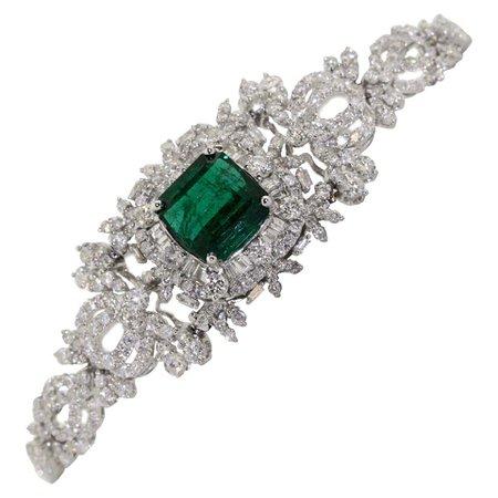 Emerald and Diamond Bracelet For Sale