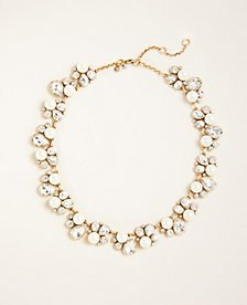 Teardrop Crystal and Pearl Statement Necklace | Ann Taylor
