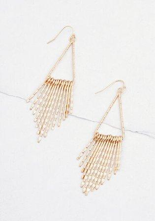 Fond of Fringe Drop Earrings Gold   ModCloth