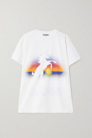 Printed Organic Cotton-jersey T-shirt - White