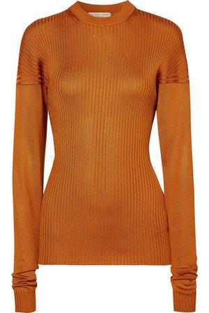 Bottega Veneta | Paneled ribbed silk sweater | NET-A-PORTER.COM