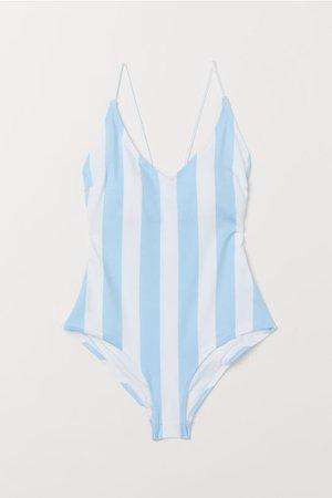 V-neck Swimsuit - Light blue/white striped - Ladies | H&M US