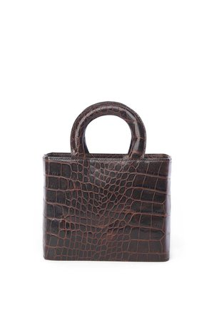 NIC BAG BROWN FAUX CROC — STAUD