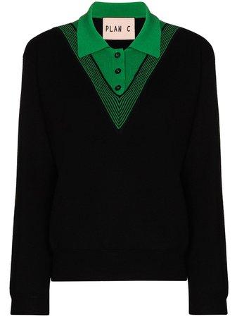 Black Plan C Filato wool polo jumper PPCMB51KG0FW001FW001FILATOCASHWO - Farfetch
