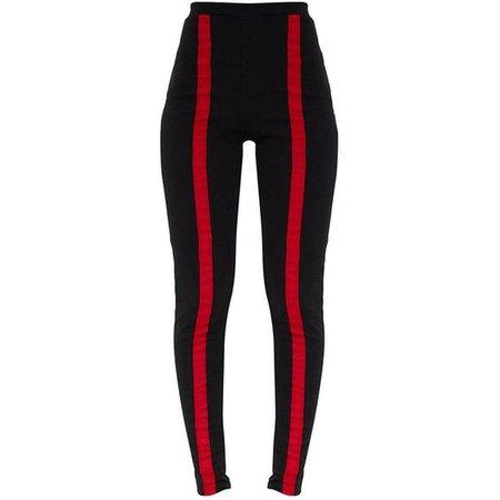 Black Contrast Stripe Track Leggings