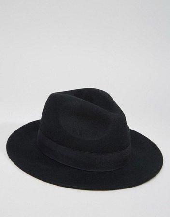 ASOS DESIGN fedora hat in black felt   ASOS