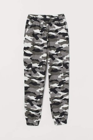 Patterned Cargo Pants - Gray