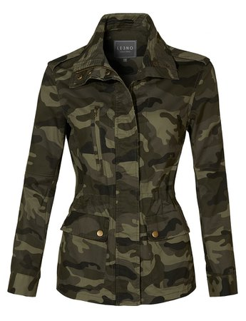 LE3NO Womens Long Sleeve Drawstring Waist Camo Military Anorak Jacket with Pockets | LE3NO green