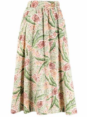 Hermès 1980s pre-owned leaf-print Midi Skirt - Farfetch