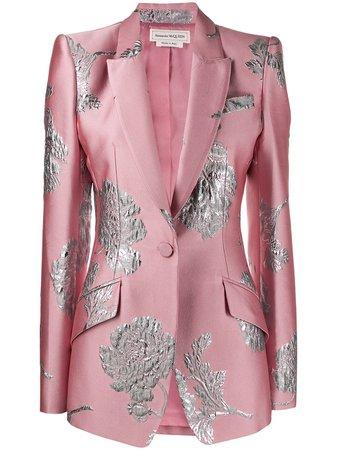 Alexander McQueen Blazer Con Brocado Floral - Farfetch