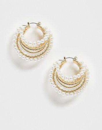 ASOS DESIGN hoop earrings in triple row design with pearls in gold tone   ASOS