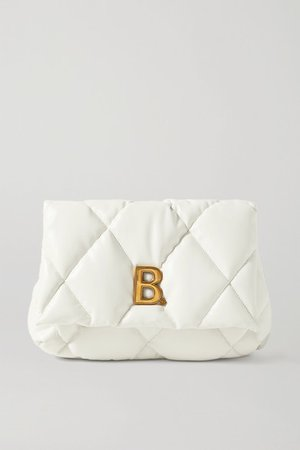 Touch Puffy Embellished Quilted Leather Clutch - White