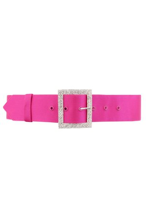 Accessories : 'Charme' Wide Pink Satin Crystal Belt