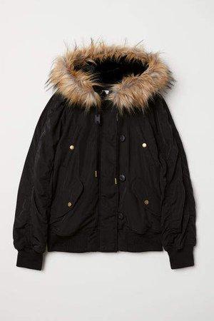 Faux-fur Trimmed Padded Jacket - Black
