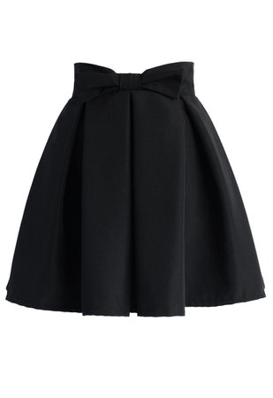 Sweet Your Heart Bowknot Pleated Skirt in Black - Retro, Indie and Unique Fashion