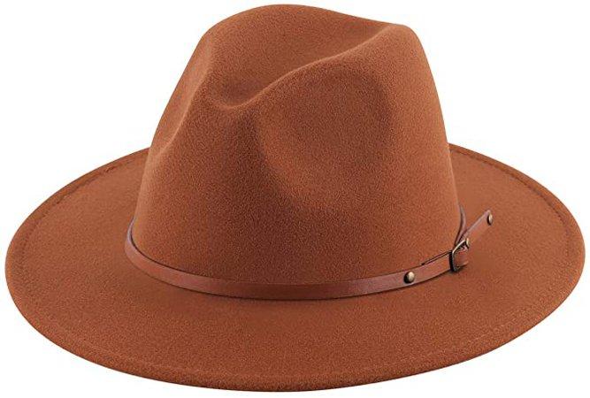 Lanzom Women Lady Retro Wide Brim Floppy Panama Hat Belt Buckle Wool Fedora Hat (X Belt-Coffee, One Size) at Amazon Women's Clothing store