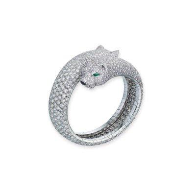 DIAMOND, EMERALD AND ONYX 'PANTHÈRE' BANGLE, CARTIER | Jewelry, bangle | Christie's