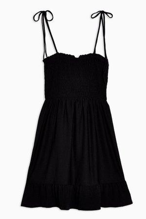 Black Shirred Flippy Dress | Topshop