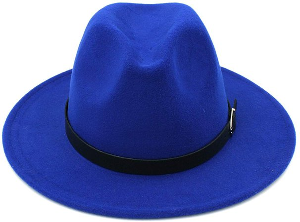 Elee Men Women's Wool Blend Panama Hats Wide Brim Fedora Trilby Caps Belt Buckle Band (Blue) at Amazon Men's Clothing store