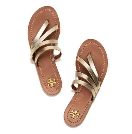 Tory Burch Gold Patos Metallic Slide Sandals Size US 5.5 Regular (M, B) - Tradesy