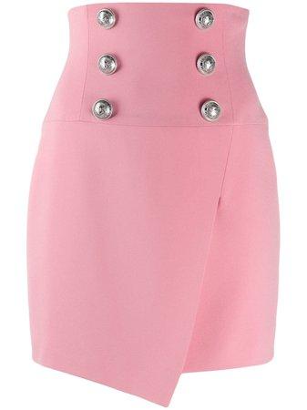 Balmain button-embellished skirt pink TF04027V089 - Farfetch