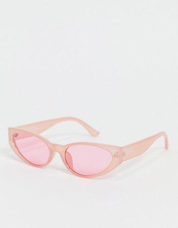 Madein. slim cat eye sunglasses in pink   ASOS