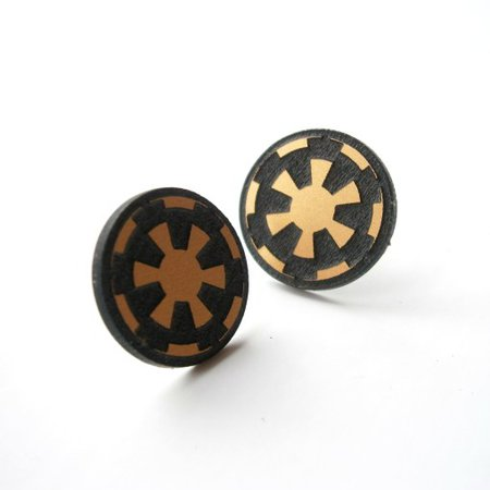 Star Wars Imperial Stud Earrings, Circle Stud, Engraved Golden Imperial Symbol