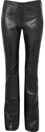 Kent Leather Straight-leg Pants - Black