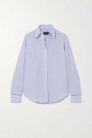 Gingham Cotton And Linen-blend Shirt - Navy