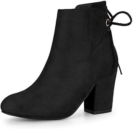 Amazon.com | Allegra K Women's Round Toe Block Heel Zipper Navy Blue Ankle Boots - 9 M US | Ankle & Bootie