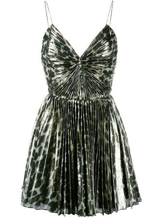 Saint Laurent Leopard Print Pleated Mini Dress - Farfetch