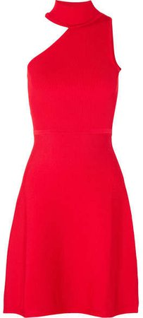 Vika One-shoulder Stretch-knit Mini Dress - Red