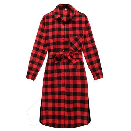 red flannel plaid shirt dress